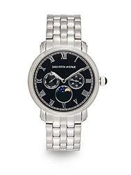 Saks Fifth Avenue Chronograph Stainless Steel Link Bracelet Watch Silver