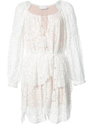 Zimmermann Longsleeved Tiered Lace Dress White