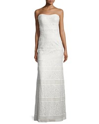 La Femme Strapless Sweetheart Lace Column Gown White