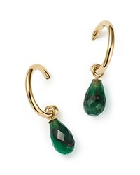 Bloomingdale's Emerald Small Hoop Earrings In 14K Yellow Gold Green Gold