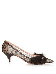 Rochas Mask Embellished Kitten Heel Lace Pumps Black