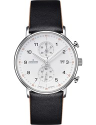 Junghans 041 4770.00 Form C Stainless Steel And Leather Chronograph Watch Silver Black