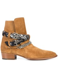 Amiri Bandana And Chain Buckled Ankle Boots Nude And Neutrals