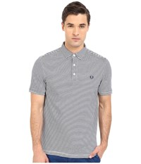 Fred Perry Fine Stripe Shirt White Carbon Blue Stripe Men's Short Sleeve Pullover Gray