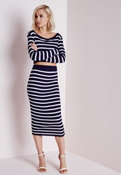 Missguided Striped Ribbed Knitted Midi Skirt Navy Blue