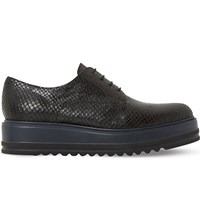 Dune Folde Leather Oxford Flatform Shoes Black Reptile