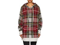 R 13 Plaid Cashmere Oversized Hoodie White
