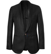 Caruso Black Slim Fit Cashmere And Silk Blend Tuxedo Jacket Black