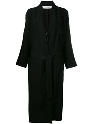 Isabel Benenato Fringed Shoulder Detail Coat Black