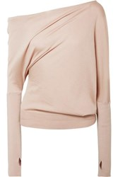 Tom Ford One Shoulder Cashmere And Silk Blend Sweater Beige