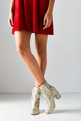 Urban Outfitters Danielle Jacquard Heeled Boot Green Multi