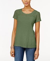 Styleandco. Style Co. Short Sleeve Lace Detail Top Only At Macy's Olive Sprig