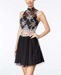 As U Wish Juniors' 2 Pc. Lace Fit And Flare Dress Black Ivory