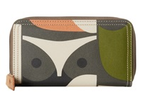 Orla Kiely Matt Laminated Big Owl Print Big Zip Wallet Multi Wallet Handbags