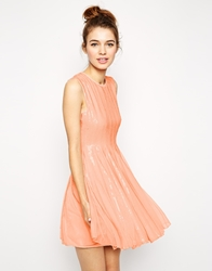 Asos Mesh And Sequin Skater Dress Nude