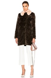 Shrimps Faux Fur Leopard Piper Coat In Brown Animal Print Brown Animal Print