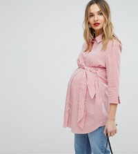 Isabella Oliver Shirt With Wrap Tie Waist Red White