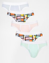 Asos Briefs 5 Pack With Pastel Cube Print Save 28 Multi