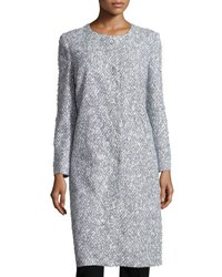 Oscar De La Renta Long Tweed Jacket White Blue