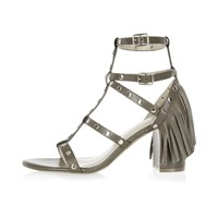 River Island Womens Khaki Fringed Strappy Mid Heel Sandals