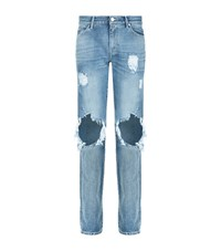 7 For All Mankind Distressed Rolled Straight Jeans Female Blue