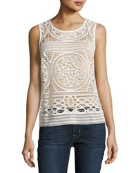 Willow And Clay Crochet Scoop Neck Tank Ivory
