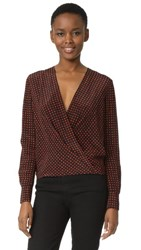 Diane Von Furstenberg Long Sleeve Drape Front Blouse Ferma Dare Red Black