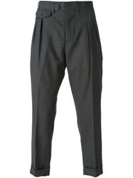 Lardini Cropped Pleated Trousers Grey