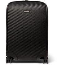 Ermenegildo Zegna Pelle Tessuta Leather Carry On Suitcase Black
