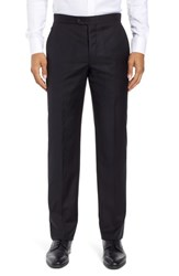 Hickey Freeman Big And Tall Classic B Fit Flat Front Solid Wool Trousers Black Solid