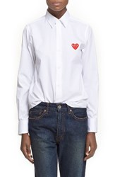 Comme Des Garcons Women's Heart Graphic Woven Cotton Shirt