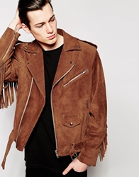 Reclaimed Vintage Suede Biker Jacket With Fringing Brown