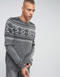 Produkt Knitted Jumper With Fairisle Detail Grey Melange