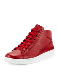 Prada Leather Mid Top Sneaker Red Men's Size 7.5 8.5Us