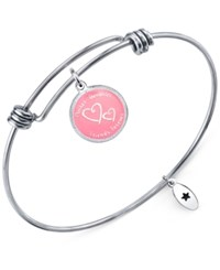 Unwritten 'Mother Daughter Friends Forever' Adjustable Message Bangle Bracelet In Stainless Steel