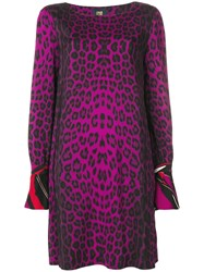 Class Roberto Cavalli Animal Print Shift Dress Pink And Purple