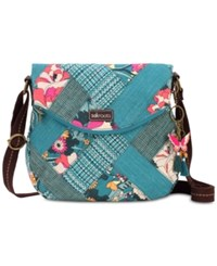Sakroots Foldover Canvas Crossbody Teal Flower Power Gold