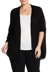 14Th And Union Open Knit Cardigan Plus Size Black