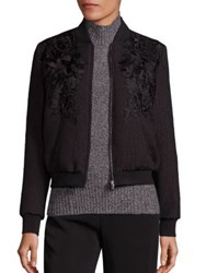 Kobi Halperin Silk Georgette Lined Embroidered Jacket Black