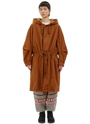 Anntian Oversized Waxed Parka Coat Brown