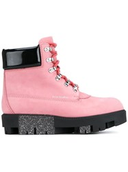 Acne Studios Telde Hiking Boots Pink And Purple