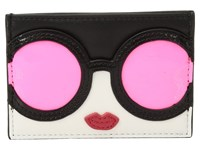 Alice Olivia Elle Stace Face Card Case Neon Coral Credit Card Wallet Orange