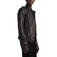 Rick Owens Stooges Chain Detailed Leather Jacket Black