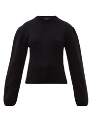 Christophe Lemaire Box Pleat Ribbed Wool Sweater Black