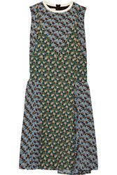 Marni Paneled Printed Silk Crepe De Chine Dress Blue Green