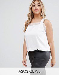 Asos Curve Satin Wrap Back Top With Sheer Inserts Ivory White
