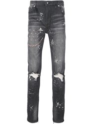 God's Masterful Children Ripped Embroidered Slim Fit Jeans Black