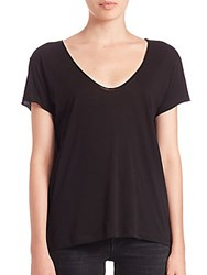 Helmut Lang Cotton And Cashmere Scoopneck Tee Black