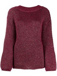 Forte Forte Chunky Knit Jumper Red