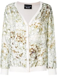 Boutique Moschino Pearl Print Cardigan Nude And Neutrals